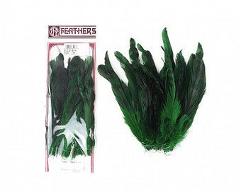 "GREEN Dyed over Natural Rooster Feathers 8-10"" 25pc/pkg For Arts & Crafts projects, DIY, Millinery, Costume Design and more ZUCKER®"
