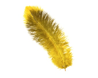"GOLD 10-15"" Ostrich Floss Feathers 50PCS For Floral Bouquets, Small Feather Centerpieces, Party Decor, Millinery, Costume Design ZUCKER®"