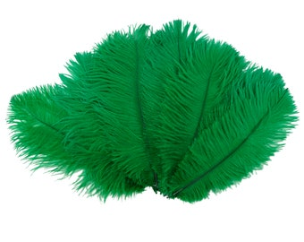 "Ostrich Feathers 9-12"" EMERALD Green, Ostrich Drabs, Centerpiece Floral Supplies, Carnival & Costume Feathers ZUCKER®Dyed and Sanitized USA"