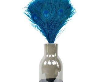 Turquoise Peacock Feathers & Vase Set, Smoke Gray with Black Personalized Chalkboard Bottom, Peacock Feather Centerpiece w/Glass Jug ZUCKER®
