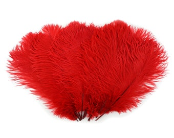 """Ostrich Feathers 13-16"""" RED - For Feather Centerpieces,Party Decor,Millinery,Carnival,Fashion and Costume Design ZUCKER®"""
