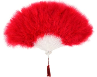 RED Marabou Feather Fans - Photobooth Accessories, Perfect for Great Gatsby, Roaring 20's Theme Costume Parties & Halloween Events ZUCKER®