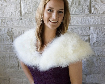 IVORY Fancy Marabou Feather Shawl w/Front Hook Closure For Special Events & Costume Parties ZUCKER® Feather Place Original Designs