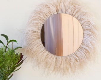 Rose Gold Mirror, Decorative Ostrich Feather Wall Art, Ostrich Rose Mirror, Wall Decor for Home and Office ZUCKER®