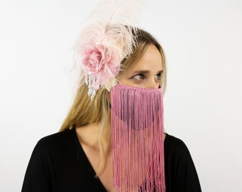 Victorian Rose Feather Fascinator with Pearl Accents and Rose Pink Fringe Mask, Halloween Saloon Girl Costume Headpiece and MaskZUCKER®