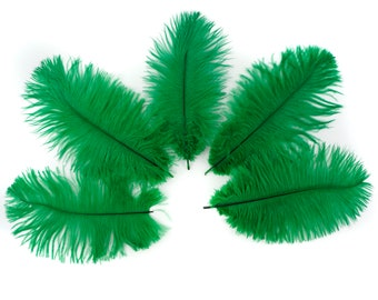 "Ostrich Feathers 4-6"" EMERALD Green, Mini Ostrich Drabs, Floral Bouquets, Boutonnieres, Small Centerpieces ZUCKER® Dyed and Sanitized USA"
