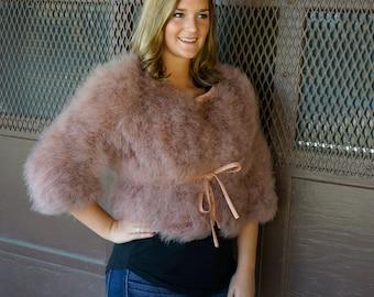 PRALINE Marabou Feather Jacket w/cinch Belt Medium/Large - For Fashion Trends & Special Events ZUCKER® Original Designs