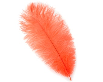 "HOT ORANGE Bulk 9-12"" Ostrich Feathers 1/4LB - For Feather Centerpieces,Party Decor,Millinery,Carnival,Fashion & Costume Design ZUCKER®"