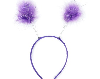 DARK LAVENDER Marabou Feather Antenna Headbands - For Halloween and Costume Parties