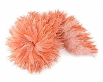 APRICOT BLUSH Dyed Rooster Saddle Feathers - Strung 1 Yard for Crafts, Fashion & Costume Design ZUCKER®
