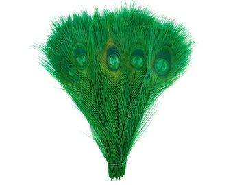 "KELLY 100pcs Bulk 8-15"" Bleach Dyed Peacock Tail Feathers - For Arts & Crafts, Floral Decor, Millinery and Jewelry Design ZUCKER®"