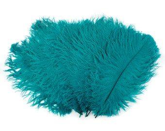 """Ostrich Feathers 13-16"""" DARK AQUA - For Feather Centerpieces, Party Decor, Millinery, Carnival, Fashion & Costume ZUCKER®"""