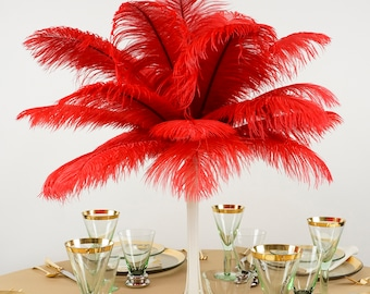 "Ostrich Feathers 13-16"" RED - For Feather Centerpieces, Party Decor, Millinery, Carnival, Fashion & Costume ZUCKER®"