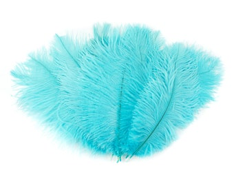 """Ostrich Feathers 9-12"""" Light TURQUOISE, Ostrich Drabs, Centerpiece Floral Supplies, Carnival & Costume Feathers ZUCKER®"""