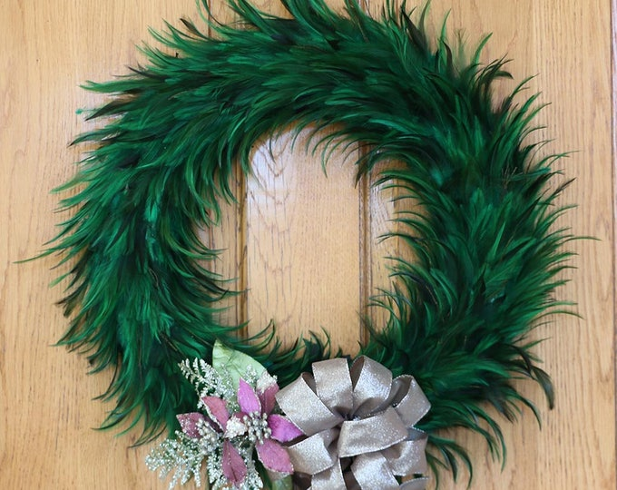 Featured listing image: Festive Decorative Holiday Feather Wreath - Unique Holiday & Christmas Decor -Large Hackle Feather Wreath Emerald ZUCKER™