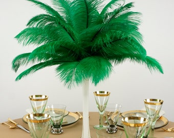 "Ostrich Feathers 13-16"" EMERALD Green - For Feather Centerpieces, Party Decor, Millinery, Carnival, Fashion & Costume ZUCKER®"