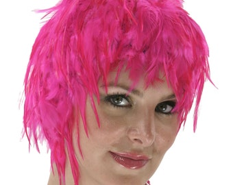 Pink Feather Wig, Dyed Rooster Hackle Wig, Costume Feather Wig for Halloween and Carnival, Photography Props, Costume Wigs ZUCKER®
