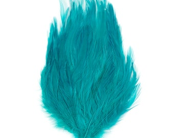 DARK AQUA Dyed Hackle Pads - Feather Patches For Arts & Crafts, Fascinators, Millinery, Fashion, Costume and Carnival Design ZUCKER®
