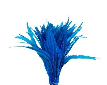"""DARK TURQUOISE 16-18"""" Bulk Bleach-Dyed Rooster Coque Tail Feathers Strung by the 1/4lb For Cultural Arts, Carnival & Costume Design ZUCKER®"""