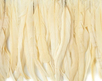 "12-14"" BEIGE Dyed Coque Feather Fringe 1YD - For DIY Art Crafts, Carnival Costume, Cosplay, Millinery & Fashion Design Fringe ZUCKER™"