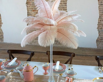 "Ostrich Feathers 13-16"" CHAMPAGNE - Pink Blush Ostrich For Feather Centerpieces, Party Decor, Millinery, Carnival, Fashion & Costume ZUCKER®"
