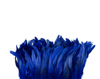 "ROYAL 8-10"" Bulk Bleach-Dyed Rooster Coque Tail Feathers Strung by the 1/4lb For Cultural Arts, Carnival & Costume Design ZUCKER®"