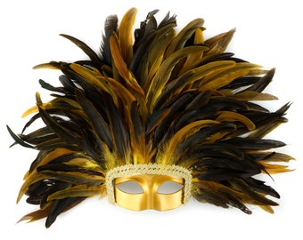 YELLOW Feather Headdress with Gold Removable Masquerade Mask -  Cultural Dance, Carnival and Halloween Costume Feather Headdress ZUCKER®