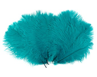 "Ostrich Feathers 9-12"" Dark AQUA, Ostrich Drabs, Centerpiece Floral Supplies, Carnival & Costume Feathers ZUCKER®Dyed and Sanitized USA"