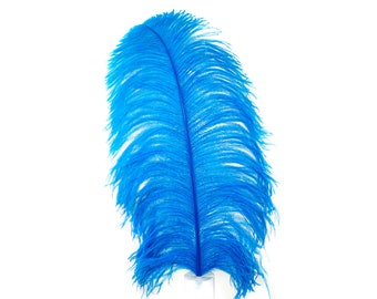 "Large Ostrich Feathers,1 Piece 17-25"" Prime Ostrich Femina Wing Plume, Dark TURQUOISE, Hat Feather, Centerpiece,Carnival  ZUCKER® USA"