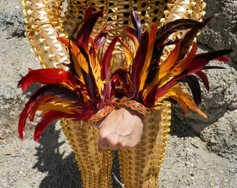 Rising Phoenix Firebird Feather Flair Cuffs- ZUCKER® Feather Place Original Designs - Unique Premium Fantasy Feather Costume & Cosplay Wings