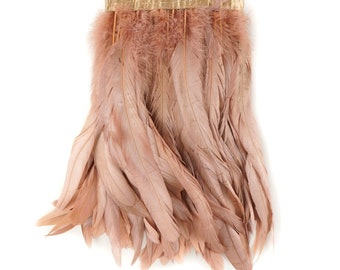 ROSEGOLD 1YD Metallic Dyed Iridescent Coque Tail Feather Fringe - For DIY, Carnival, Cosplay, Costume, Millinery & Fashion Design ZUCKER®