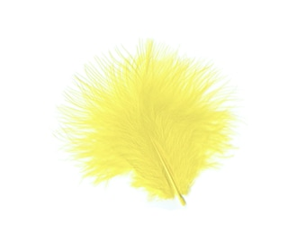 Turkey Feathers, Pale Yellow Loose Turkey Marabou Feathers, Short and Soft Fluffy Down, Craft and Fly Fishing Supply Feathers ZUCKER®