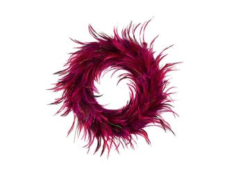 Festive Decorative Holiday Feather Wreath - Unique Holiday & Christmas Decorations -Medium Feather Christmas Wreath Shocking Pink ZUCKER®