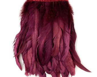 BURGUNDY 1YD Metallic Dyed Iridescent Coque Tail Feather Fringe - For DIY, Carnival, Cosplay, Costume, Millinery & Fashion Design ZUCKER®
