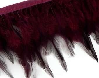 "1 Yard BURGUNDY Dyed Saddle Feather Fringe approx 3-6"" - Fringe for Costume, Fashion & Millinery Design  ZUCKER™"