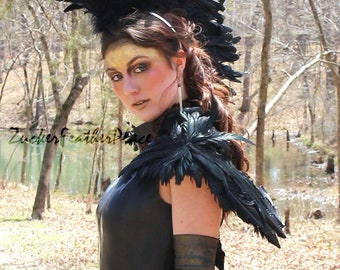 Black Crow Costume Feather Wing - Over the Shoulder Premium Fantasy Feather Costume & Cosplay Wings - ZUCKER® Feather Place Original Designs
