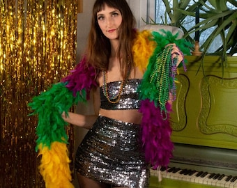 Mardi Gras Costume Feather Boa - Heavy Weight Chandelle Feather Boa for Costume, Carnival, Masquerade Parades & Party Favors ZUCKER®