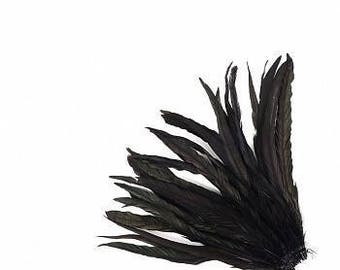 "10-12"" Black Rooster Coque Feathers - BCCHBL10-12--BL-IRID (25 piece pkg) ZUCKER®"