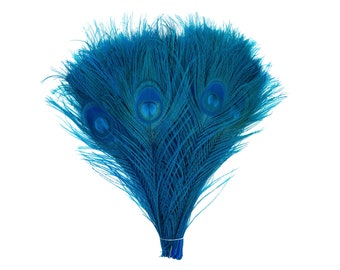 "DARK TURQUOISE 100pcs Bulk 8-15"" Bleach Dyed Peacock Tail Feathers - For Arts & Crafts, Floral Decor, Millinery and Jewelry Design ZUCKER®"