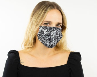 Fitted Face Mask, Black and Silver Fancy Lace Disposable Face Mask, Dust Mask, Fashion Face Mask, Face Covering ZUCKER®