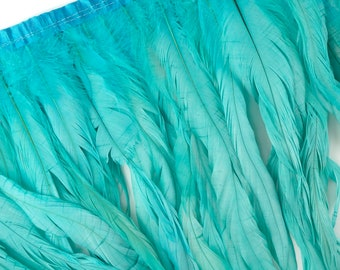 """10-12"""" LTTURQUOISE Dyed Coque Feather Fringe 1YD - DIY Crafts, Carnival, Cosplay, Costume, Millinery & Fashion Design Feather Fringe ZUCKER™"""