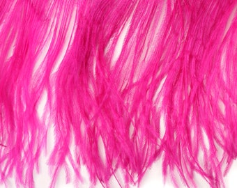Ostrich Feather Fringe by YARD, SHOCKING PINK - For Bridal, Carnival Costume, Millinery, Fashion Design and Decor