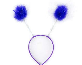 DARK LILAC Marabou Feather Antenna Headbands - For Halloween and Costume Parties