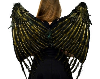 Black and Gold Maleficent Inspired Feather Wings - ZUCKER® Feather Place Original Designs - Premium Fantasy Feather Costume & Cosplay Wings