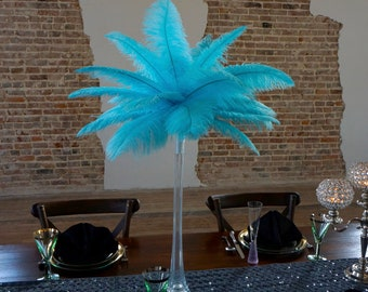 LTTURQUOISE Ostrich Feather Centerpiece Sets CLEAR Eiffel Tower Vase For Great Gatsby Party, Special Event & Wedding Reception Decor ZUCKER®
