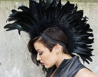 Black Feather Mohawk - Festival , Burning Man, Carnival , Halloween Costume Feather Headdress ZUCKER® Feather Place Original Designs
