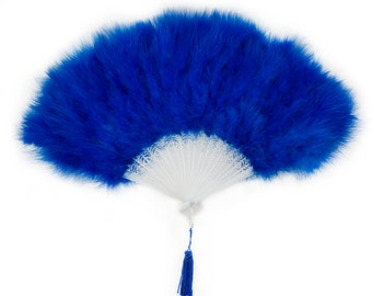 ROYAL Marabou Feather Fans - Photobooth Accessories, Perfect for Great Gatsby, Roaring 20's Theme Costume Parties & Halloween Events ZUCKER™