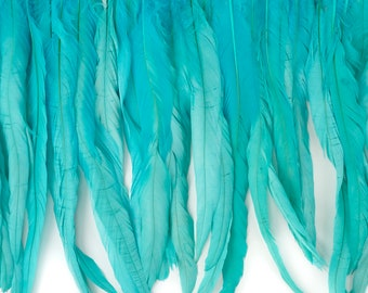 "12-14"" LTTURQUOISE Dyed Coque Feather Fringe 1YD - For DIY Art Crafts, Carnival Costume, Cosplay, Millinery & Fashion Design Fringe ZUCKER®"