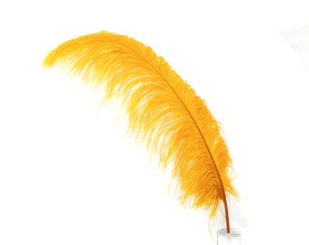 """MARIGOLD 25 Large Ostrich Feathers 17-25"""" 25pc/pkg - For Feather Centerpieces, Party Decor, Millinery , Carnival , Costume ZUCKER®"""