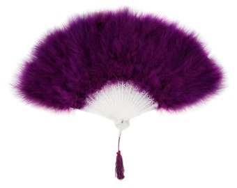 PURPLE Marabou Feather Fans - Photobooth Accessories, Perfect for Great Gatsby, Roaring 20's Theme Costume Parties & Halloween ZUCKER®